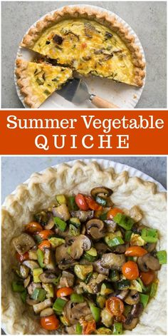 This Summer Vegetable Quiche combines zucchini, eggplant, mushrooms, and tomatoes to make a hearty vegetarian dish. Quiche Veggie, Vegetarian Quiche, Vegetarian Dish, Frittata, Healthy Vegetable Recipes, Vegetarian Recipes, Cooking Recipes, Healthy Quiche Recipes, Healthy Salads