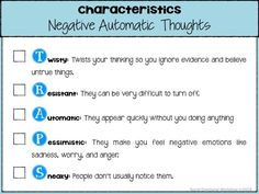 Cognitive Behavioral Mapping. Characteristics of Negative Automatic Thoughts.