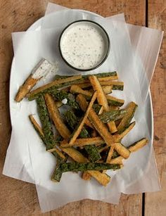 Fried Cucumbers with Sour Cream Dipping Sauce from Saveur