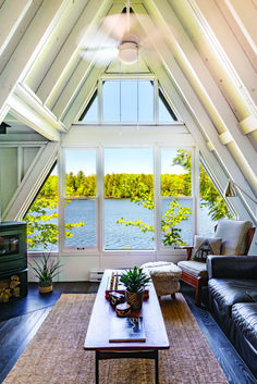 The dream cottage-- a Muskoka a-frame that's been whitewashed, with views for days! A Frame House Plans, A Frame Cabin, Lake Cottage, Cottage Living, Cabana, Sleeping Loft, Cabins In The Woods, Home And Deco, House And Home Magazine