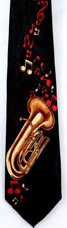 New Red Note Tuba Mens Necktie Music Tubas Musician Musical Instrument Neck Tie #StevenHarris #NeckTie