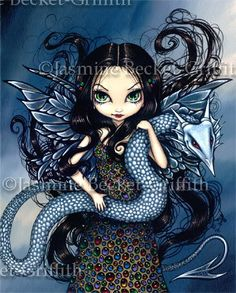 Jewele dragon fairy gothic fantasy art print by Jasmine Becket-Griffith 12x16 BIG