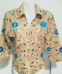 New SILKLAND 100% Silk Embroidered Spring Flowers Shirt/ Jacket Lined Top SZ S