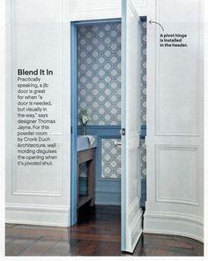 door concealed by molding Window Casing, Door Casing, Wall Molding, Moldings And Trim, Baseboards, Powder Room, Tall Cabinet Storage, Garage Doors, Interior Design