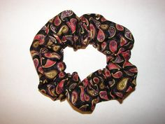 Paisley Fabric Hair Scrunchie black fabric fancy by coloradocntry