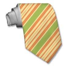 Striped Ties For Men Green And Orange Stripes Tir