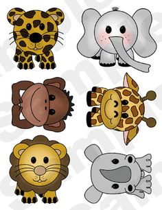 Jungle Animals Nursery Wall Stickers. Graphics by Playtimeworld.