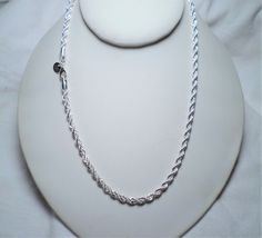 menswomens 4mm twisted rope 925 sterling silver chain necklace inch
