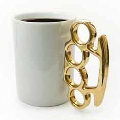 #Knuckle #Duster #MUG. #Gold and #white – for those who got to #fight for their #coffee in the #office.