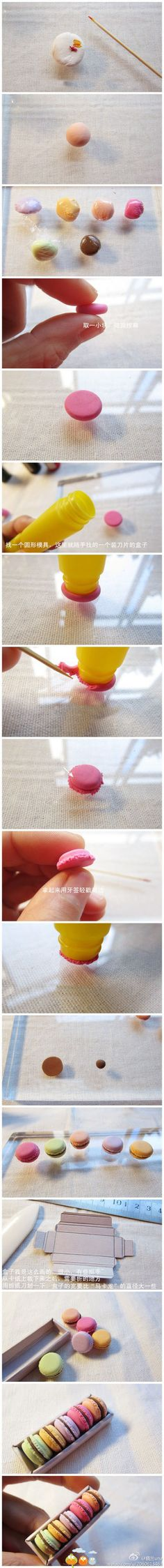 Mini macaroons of fimo poly clay! Polymer Clay Kunst, Polymer Clay Miniatures, Fimo Clay, Polymer Clay Projects, Polymer Clay Charms, Polymer Clay Creations, Clay Crafts, Crea Fimo, Cute Clay