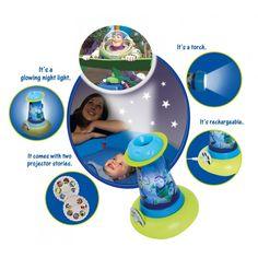Une lampe, une veilleuse et un projecteur d'images. Le tout en un seul produit. Disponible également en version Cars, Disney Princess ou Cars