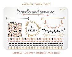 Arrows and Laurels Design Elements - Blog Background - Borders - Instant Download - Free Clipart w order via Etsy