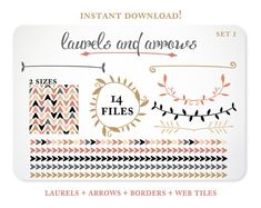 Arrows and Laurels Design Elements - Blog Background - Borders - Instant Download - Free Clipart w order
