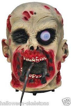 Animated Rat Eating Severed Zombie Head Halloween Horror Prop