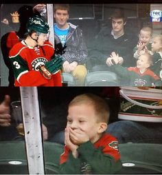 Hockey player waves at young fan - Makes his day. - Imgur