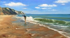 The Seeker - oil painting, now available on my website :) This painting is of the Charmouth beach in Dorset, I could say more about it but I actually think it's better to leave it to the viewers imagination :) Things To Think About, My Arts, Mountains, Landscape, Water, Imagination, Painting, Travel, Viajes