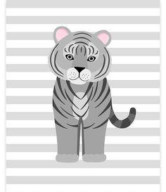 Tiger Nursery Art Baby Girl Zoo Art Zoo Nursery Decor Grey