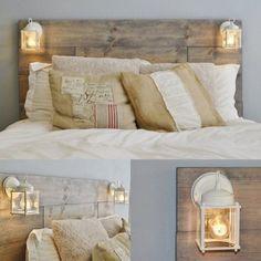 Una forma original y económica de colocar luz en el cabecero de la cama, reciclando madera, me lo guardo!!!!