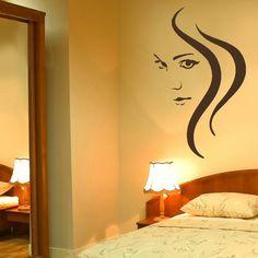 BEAUTY WOMAN HAIR SALON WALL ART STICKER GRAPHIC stencil giant uk picture WO27