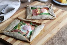 A gluten free recipe for a Breton inspired buckwheat galette. Cheese, ham and an egg is usually called a galette complète - I have used French Comté cheese.