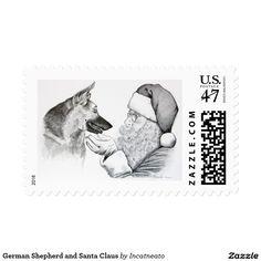 German Shepherd and Santa Claus Postage