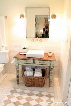Cathy, you could do something like this in your half bathroom //  Southern Living Idea House  via Southern Hospitality  152