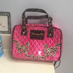 Betseyville Pink Camo Cosmetic Bag Excellent condition. No flaws. Betsey Johnson Betseyville Pink Cosmetic Bag with Camo Accents and Handles. Cute. Large size Betsey Johnson Bags Cosmetic Bags & Cases