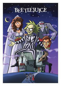 Cult Movie Posters In A Cartoon Style-- Beetlejuice Cartoon Cartoon, Cartoon Posters, Cartoon Movies, Film Posters, Cartoon Styles, Cult Movies, Sci Fi Movies, Horror Movies, Tim Burton