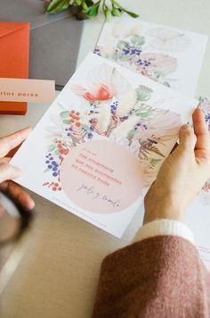 Invitacion boda flores primavera circulo