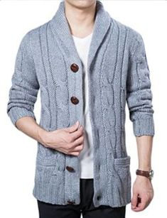 YUNY Mens Embroidery Single-Breasted Oversize Pullover Sweater 5 2XL