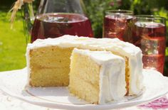 A light, summery lemon cake.* It's difficult not to gobble this delicious lemon cake down as soon as you've made it - but try to freeze a few slices for tomorrow!