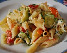 Pasta with veggies and ricotta