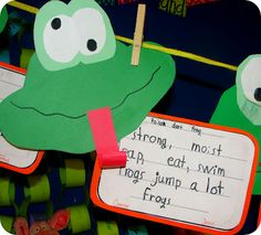 I really wanted to make some little froggies, so I decided to gear our cinquain poetry that way.  We read several books about frogs, did a few cinquains together, and then they got to work!  We used Cara's cinquain ideas to get us going :)