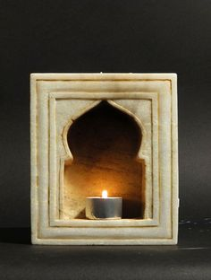 Hand Carved in the Classical Mughal Style, this Single Marble Lamp Niche is from Rajasthan. It can be used free standing on a table or hung on a wall. Please do not leave lit candles un- attended. House Outside Design, House Front Design, Mughal Architecture, Beautiful Architecture, India Home Decor, Ganapati Decoration, Niche Design, Marble Lamp, Pooja Room Design