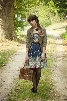Autumn dress belted, blazer with pin, tights, boots