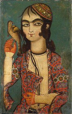 Artist unknown, Boy Holding a Falcon, Iran, Late 18th century, Qajar Dynasty, Hermitage Museum