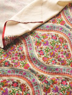 Gulabkar Lahariya Hand Embroidered Pashmina Shawl -  This beautiful collectors piece has been made by Najibabadi craftsman and rafoogar imitating antique woven designs of the dorukha Kashmir jamawar shawls of the Avadh court. - This Kashmiri Pashmina shawl is fully hand embroidered in anchor thread. - This piece took one year to embroider.