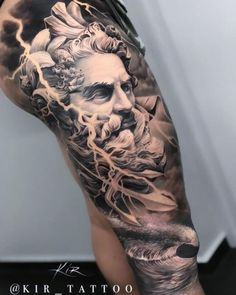 Roman statue inspired leg tattoo in realistic black and grey style Zeus Tattoo, Poseidon Tattoo, Statue Tattoo, Full Leg Tattoos, Leg Tattoos Women, God Tattoos, Forarm Tattoos, Circle Tattoos, Tattoos For Guys