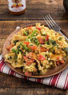 Migas   Nutritious Eats @NutritiousEats. I'd substitute egg whites for half the eggs to lower the calories a bit, and use a tad less cheese!