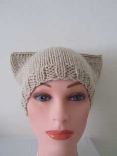 Hand Knit Meow Kitty Cat Hat Lace/Tan Hat by Madebyfate on Etsy, $30.00