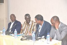 Dr Ben Ampomah (2nd left), Executive Director of the Water Research Institute, chatting with Mr Awiss Aboubacar (3rd left), Regional Coordinator of the Water and Wetlands Programme, at  the opening ceremony of the workshop. With them are some of the invited guests.