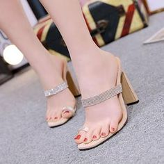 Fashion Roman Sandals Rhinestone Women's Slippers Square Head 2020 New High Heels Thick With Casual Solid Color Ladies Shoes Cheap High Heels, Super High Heels, Sexy Sandals, Fashion Sandals, Shoes Sandals, Roman Sandals, Womens Summer Shoes, Womens Slippers, Types Of Shoes