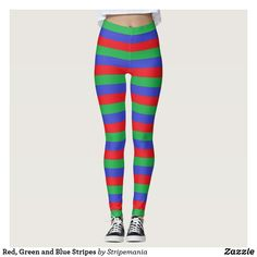 Red, Green and Blue Stripes Leggings