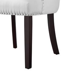 Faith White Leather PU Dining Chair - Set of 2 | Tufted | Ring Handle | Chrome Nailhead Finish - Walmart.com - Walmart.com Tufted Dining Chairs, White Dining Chairs, Fabric Dining Chairs, Leather Dining Chairs, Dining Chair Set, Dining Room, Traditional Dining Chairs, Trendy Furniture, Faux Leather Fabric