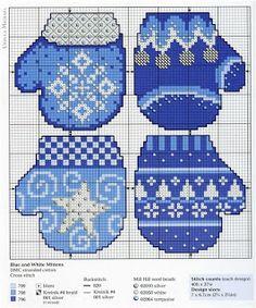 Вышивка крестом / Cross stitch : Новогодние варежки в синих тонах