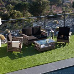 Salon de jardin 4 places : 1 table basse + 2 fauteuils + 1 canapé en résine tressée SABANA Ermanno G port offert vente privée