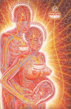 """A new moon teaches gradualness and deliberation and how one gives birth to oneself slowly. Patience with small details makes perfect a large work, like the universe.""  Mawlānā Jalālad-Dīn Rumi  Art by Alex Grey"