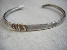 Silver and gold bracelet. Men's bracelet. Sterling silver bracelet with 14k gold wire wound around it. Handmade.