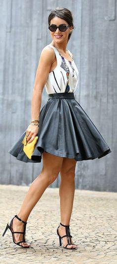 Black Leather High Rise Midi Skirt