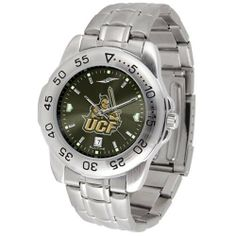 """Central Florida Knights NCAA AnoChrome """"Sport"""" Mens Watch (Metal Band) by SunTime. $63.00. Calendar Date Function. Rotation Bezel/Timer. Scratch Resistant Face. This handsome, eye-catching watch comes with a stainless steel link bracelet. A date calendar function plus a rotating bezel/timer circles the scratch resistant crystal. Sport the bold, colorful, high quality logo with pride. The AnoChrome dial option increases the visual impact of any watch with a stunning radial reflec..."""
